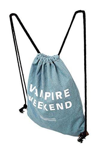 La Vogue Shopper Mochilas de Lona con Cordones Para Mujer Chica 33×40cm Modelo G Modelo D