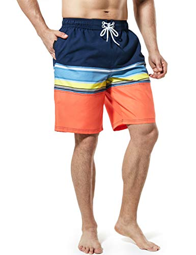 TSLA Men's 11 Inches Swimtrunks Quick Dry Water Beach, Color Block(msb02) - Orange & Blue, - Pants 2 Pocket