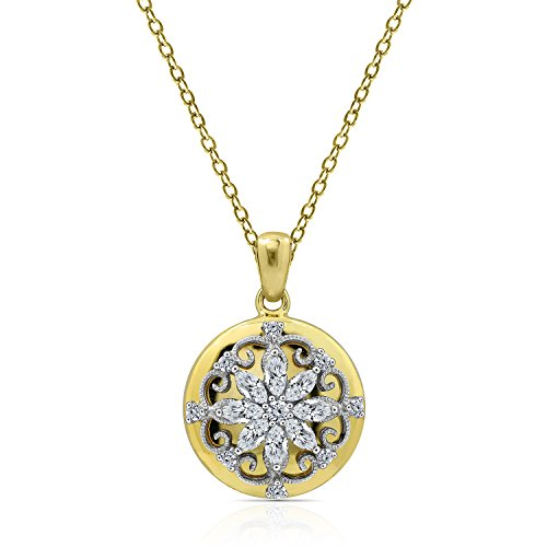 Diamonbliss 14K Gold Clad Cubic Zirconia Floral Overlay Pendant with Chain