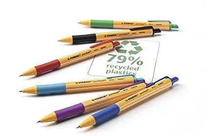 STABILO pointball - Bolígrafo retráctil ecológico recargable, estuche con 6 colores