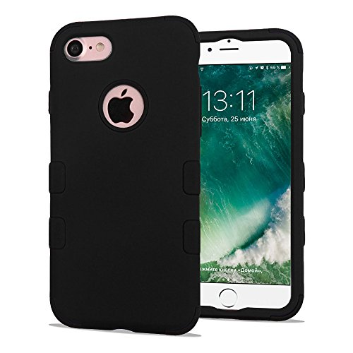 iPhone 7 Case, iPhone 8 Case, Dual Layer Hybrid, Heavy Duty Polycarbonate and Silicone TPU Hard Cover - - 8 Gb Black Silicone