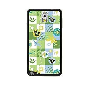 CaseCityLiu - Cat and Fish/Green Cartoon Sweet Pattern Design Black Bumper Plastic+TPU Case Cover for Samsung Galaxy Note III 3 N9000 wangjiang maoyi