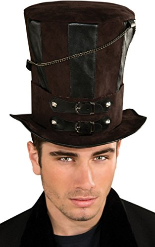 [Rubie's Costume Steampunk Top Hat With Chains and Buckles, Brown/Black, One Size] (Steampunk Costumes Men)