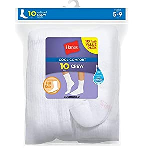 Womens Cushioned Crew Athletic Socks 10-Pack (683/10)