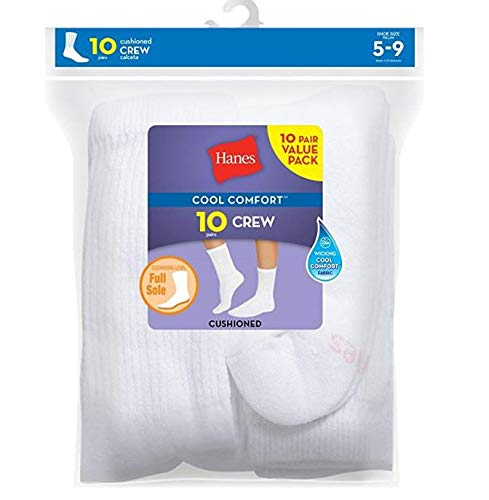 Hanes Womens Crew Sock, White, 9-11(Shoe 5-9), 50 Pack