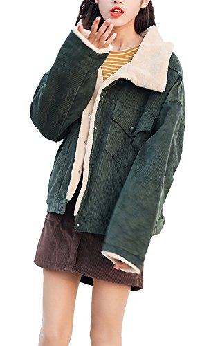 Gihuo Women's Vintage Corduroy Sherpa Fleece Lined Jacket Thickened Warm Quilted Jacket (Green, Small) ()