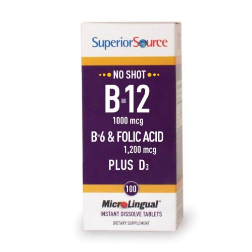 Superior Source: B-12 1,000 mcg / B-6 / Folic / Vitamin D 1,000 IU, 100 tabs