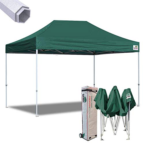 (Eurmax 10x15 Ft Premium Ez Pop up Canopy Instant Canopies Shelter Outdoor Party Gazebo Commercial Grade Bonus Roller Bag (Forest Green))