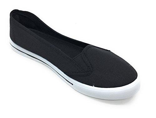 Bleu Berry Easy21 Femmes Toile Bout Rond Slip Sur Plat Fashion Sneaker Noir