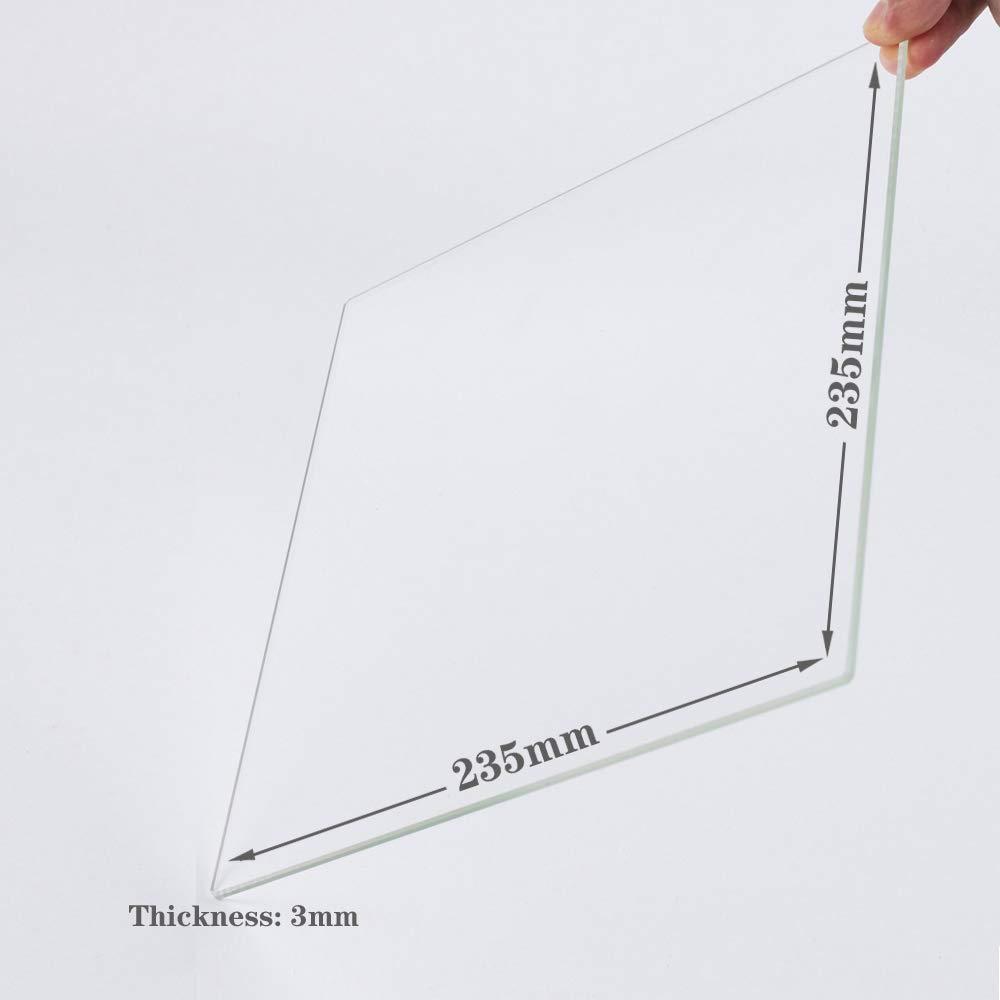 Placa de cristal de borosilicato para impresoras 3D, cristal perfectamente plano con bordes pulidos, 235 mm x 235 mm x 3 mm