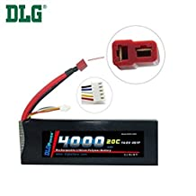 DLG 14.8V 4000mAh 4S 20C Burst 40C LiPO Li-Po High-Discharge Rate Powerful Battery with Dean's T Plug