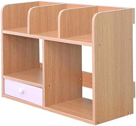 Schreibtisch Organisator Kleines Bücherregal auf dem Tisch Double-Layer Einfacher Desktop Storage Rack mit Schubladen Home Office-Studie Bibliothek Akten-Halter for Bücher Dokumente Zeitschriften Klei