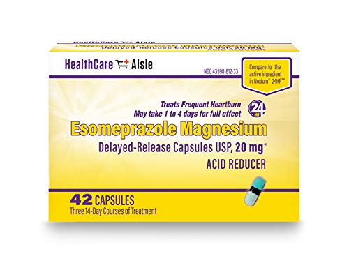 HealthCareAisle Esomeprazole Magnesium Delayed-Release Capsules, USP | Treats Frequent Heartburn | 20 mg | 42 Count