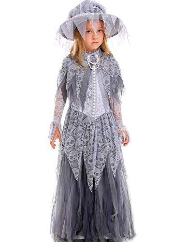 Halloween Ghost Bride Dress Girl Zombie Costume Corpse Cosplay Witch Vampire]()