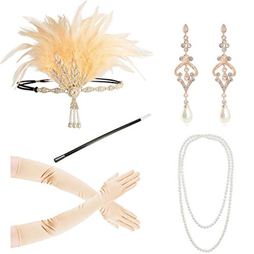 Zivyes 1920s Accessories Flapper Costume for Women Headpiece Cigarette Necklace Gloves (Nn)