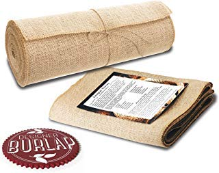 """Burlap Table Runners ~ 12"""" Wide X 10 Yards Long Burlap Roll ~ Burlap Fabric Rolls. A NO-FRAY Burlap Runner with OVERLOCKED and SEWN Edges for Rustic Weddings, Decorations and Crafts! ()"""