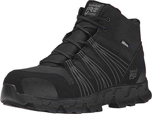 Timberland PRO Men's Powertrain Mid Alloy Toe ESD Industrial Hiking Boot, Black Synthetic, 10 M US