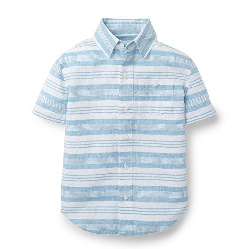Striped Linen Button Front Shirt - Hope & Henry Boys Linen Striped Short Sleeve Shirt