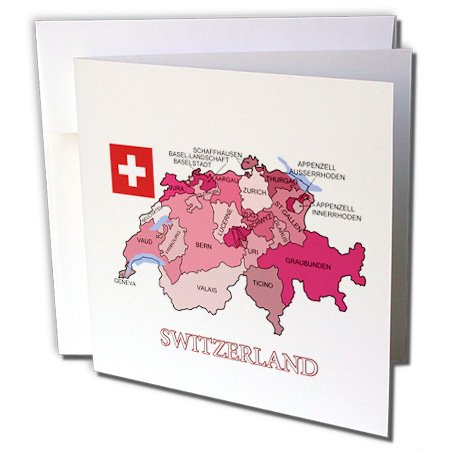 Price comparison product image 3dRose Set of 12 Greeting Cards, Flag and Map of Switzerland Showing The Cantons in Different Colors (gc_186862_2)