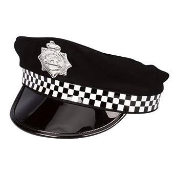 Negro Deluxe PVC disfraz de oficial de policía uniforme sombrero ...