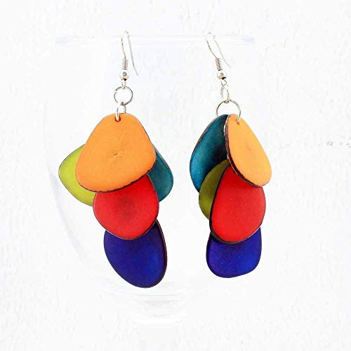 Colorful Dangle Earrings made of Eco Tagua Nut ()