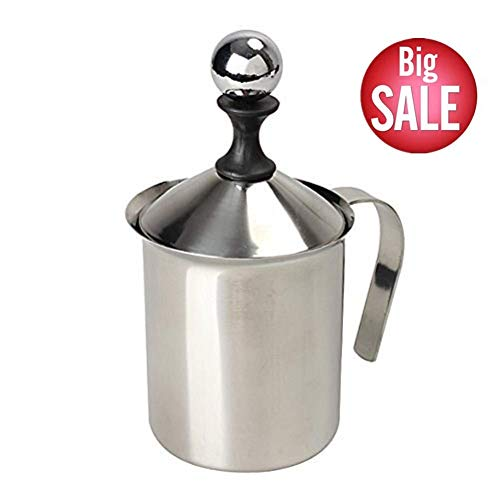 Milk Frother, HomeGoal Stainless Steel Manual Milk Foamer, Handheld Coffee Milk Frothing Pitchers,Manual Operated Milk Foam Maker For Cappuccino Coffee Latte Hot Chocolate(14-Ounce/400ml)