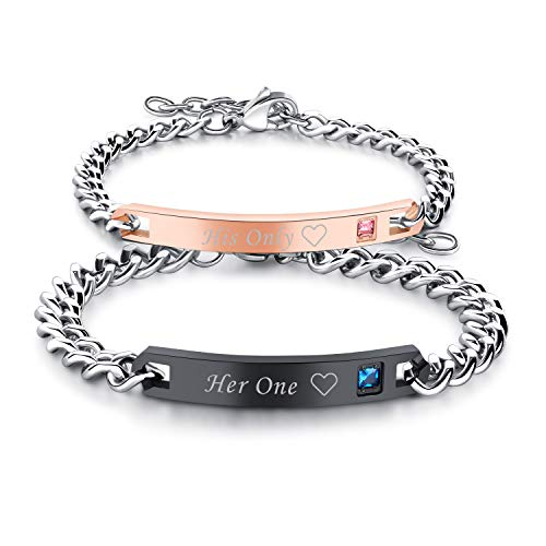 Cupimatch 2pcs CZ His and Hers Couple Bracelets Set, Adjustable Titanium Stainless Steel His Only Her One Love Heart Matching Bracelet Link Jewelry ()