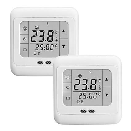 Termostato digital para calefacción retroiluminado de 16A con pantalla táctil LCD.
