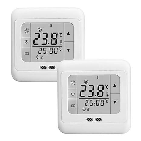 Termostato digital para calefacción retroiluminado de 16A con pantalla táctil LCD. Regulador de temperatura. (Pack de 2 unidades).: Amazon.es: Electrónica
