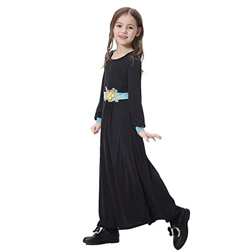 OBEEII Girl Muslim Flower Applique Abaya Jilbabs Long Sleeve Full Length Maxi Dress