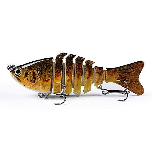 Proberos Fishing Lures Multi Jointed Segment Swimbait Life-Like Hard Crankbaits Bait Pesca for Trout Bass Pike Musky Fishing with Black Treble Hooks 3.94inch/0.43oz (C)