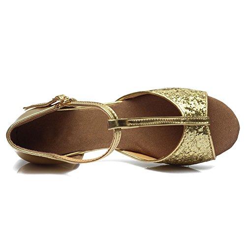 De E Latino Lentejuelas Zapatos Baile Niñas Estándar 205 Hroyl Baile zapatillas Gold Salón qZFHW