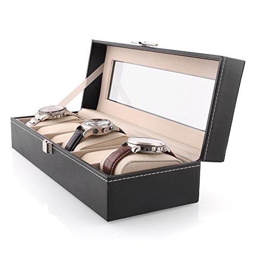 MVPower® Hochwertiger Uhrenbox für 6 Uhren Uhrenkasten Uhrenkoffer Schaukasten Uhrenkasten Uhrenvitrine 6 Uhren Schwarz Leather