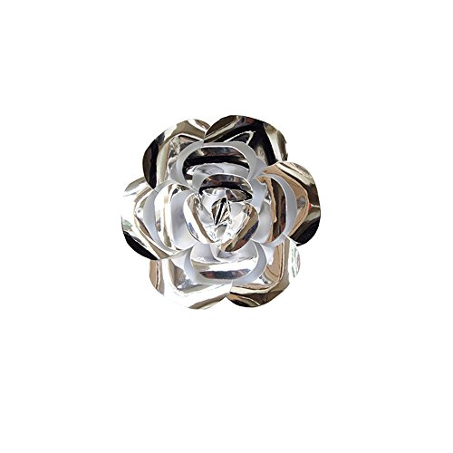 "Mega Crafts 8"" Handmade Paper Flower in Metallic Silver 