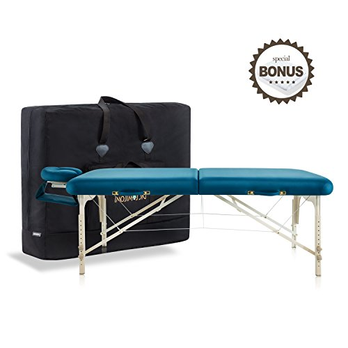 Dr.lomilomi Delux Maple Hardwood Portable Massage Table Spa Bed 101 Package (101, Teal green)