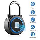 Fingerprint Padlock, Bluetooth, Waterproof, Anti Theft, keyless and biometric, Smart Lock Works with iOS & Android | Security Lock by GSi | usable for Gym, School, Luggage, cabinets | Metal