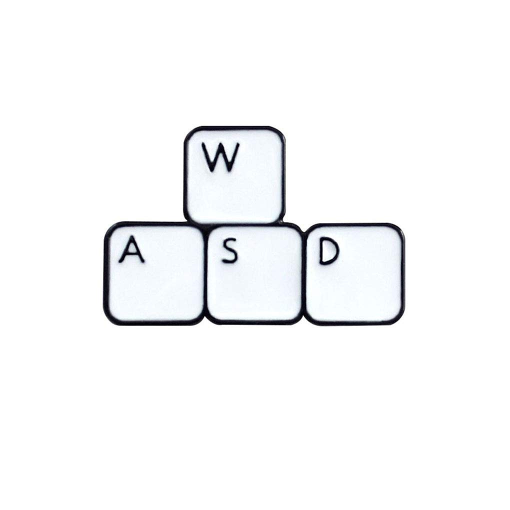 Charmart Game WASD Keyboard Lapel Pins 2 Piece Set Keys Tablets Button Enamel Brooch Pin Computer Gamer Badge Gifts