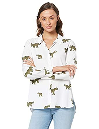 French Connection Women's Roaming Elephants CORE Shirt, Off White/Multi, Eight