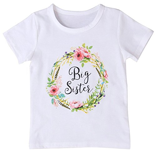 2Bunnies Girl Baby Girl Big Sister Flower Floral Wreath T- Shirt Tee (White, - Baby Sister Little T-shirt
