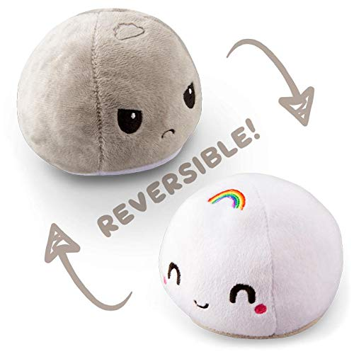 (TeeTurtle Reversible Mochi Mini - Gray Stormcloud and White Rainbow Toy )