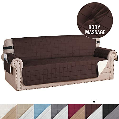 """H.VERSAILTEX Reversible Foam Quilted Non-Slip Furniture Protector with Side Pockets, 2"""" Straps Covers for Dogs, Water-Repellent Sofa Slipcover, Seat Width Up to 70"""", (Sofa: Brown/Beige)"""