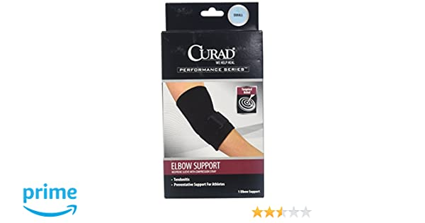 1c9f0a6c37 Amazon.com: Medline ORT17300SDH Curad Elbow Sleeve With Compression Straps,  Small: Health & Personal Care