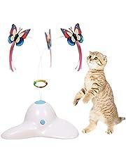 Zenes Grappige kat speelgoed vlinder - elektrische flutter roterende vlinder, kat teaser speelgoed met twee vervanging