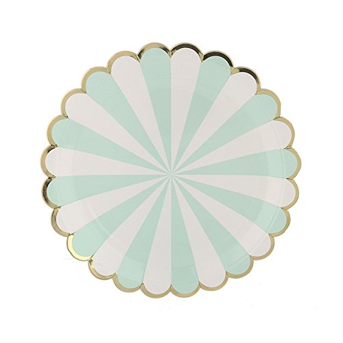 loped Edge Stripe Paper Plates Disposable Plates Paper Dessert Snack Plate for Party Birthday Wedding 7''(Set of 8) (Scalloped Edge Patterned)
