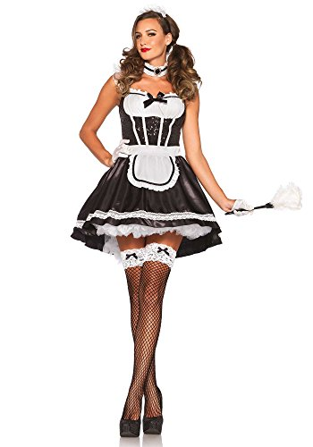 Leg Avenue Women's Fiona Featherduster Maid Costume, Black/White, Medium/Large -