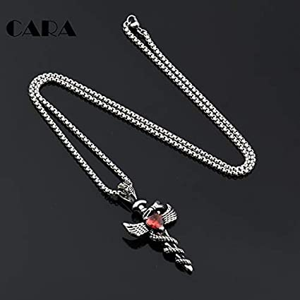 White,60 cm CARA Fashion Men Jewelry 316L Stainless Steel Angel Wings Cross Pendant Chain red Crystal Cross Pendant Necklace Gift CAGF0149
