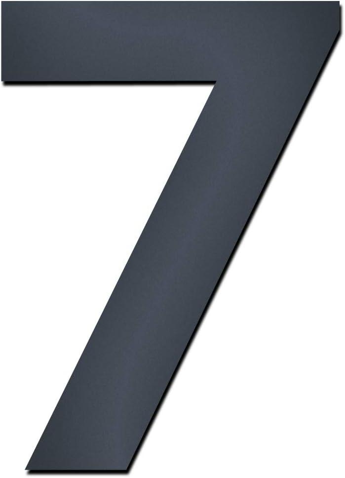 Hausnummer:7 MOCAVI Design V4A Edelstahl Hausnummer anthrazit HS 20 Feinstruktur beschichtet RAL 7016 grau 15 cm modern Ziffern und Buchstaben