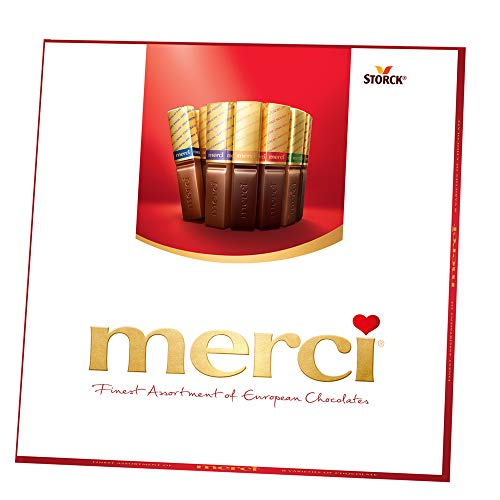 Gourmet Chocolate Favors - MERCI Finest Assortment of European Chocolate Candy, 7 Ounce Box, Contains Eight European Chocolate Varieties, Chocolate Candy,  Assorted Candy and Sweets, Great Holiday Gift or Birthday Gift