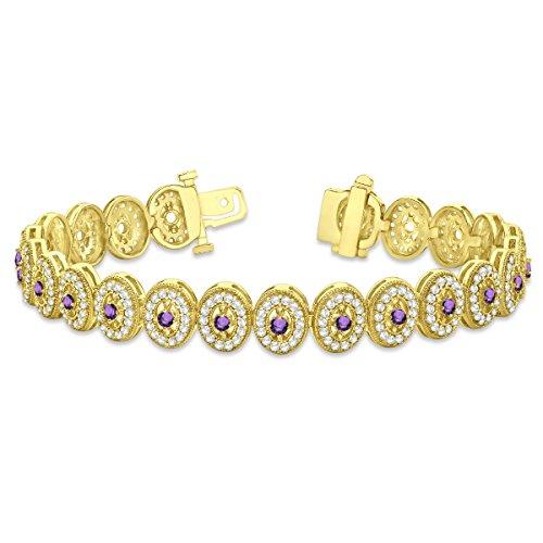 Amethyst Halo Vintage Bracelet 18k Yellow Gold (6.00ct) Amethyst Gold Vintage Bracelets