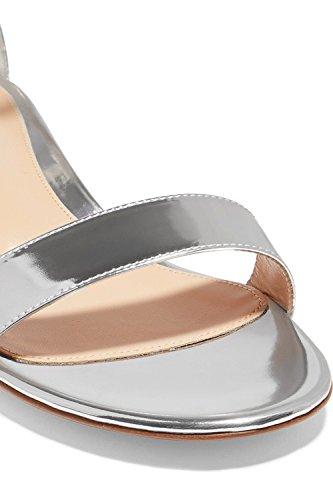 Argento Soireelady Sandali con Cinturino Caviglia alla Blocco Donna a da 2CM Scarpe Tacco xI7dqxSr